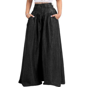 yoyoyoyoga.com Denim Black / XXS 70s Super Wide-leg Soft Denim Palazzo Pants