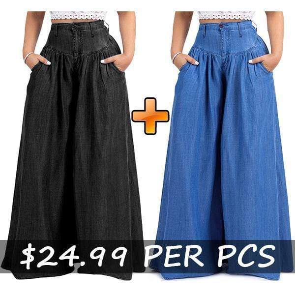 yoyoyoyoga.com Denim Blue+Black($24.99 Per Pcs) / XXS 70s Super Wide-leg Soft Denim Palazzo Pants
