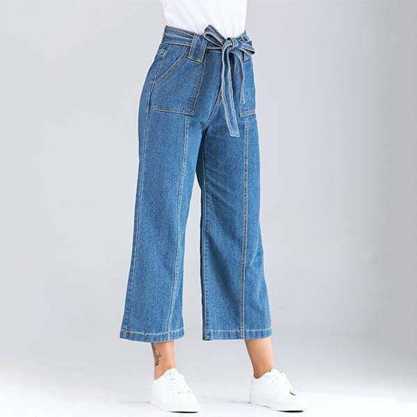 yoyoyoyoga.com Denim Blue / XS Casual Wide Leg Loose Denim Belt Pants