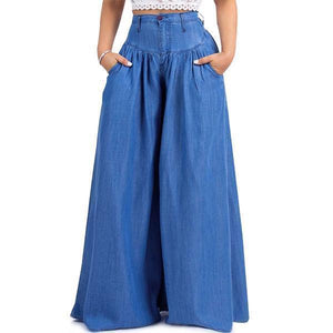 yoyoyoyoga.com Denim Blue / XXS 70s Super Wide-leg Soft Denim Palazzo Pants
