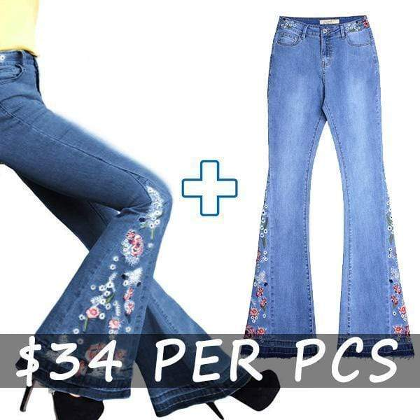 yoyoyoyoga.com Denim Dark Blue+Light Blue($34.99 Per Pcs) / XS 70s Flowers Embroidered Bell Bottoms