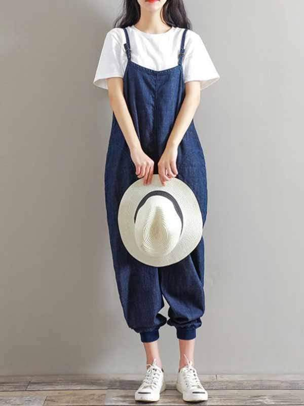 yoyoyoyoga.com Denim Dark Blue / M Denim jumpsuit