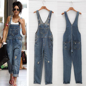yoyoyoyoga.com Denim Dark Blue / XS Multi-pocket Distressed Denim Jumpsuits Dungaree Overalls