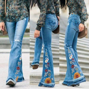 yoyoyoyoga.com Denim Embroidered Stretchy Denim Frayed Bell Bottom Jeans