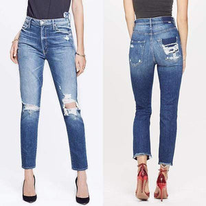 yoyoyoyoga.com Denim Fashion High Waist Hole Brushed Feet Jeans