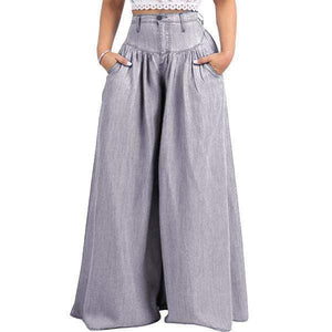 yoyoyoyoga.com Denim Grey / XXS 70s Super Wide-leg Soft Denim Palazzo Pants