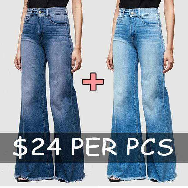 yoyoyoyoga.com Denim Light Blue+Dark Blue($24.99 Per Pcs) / 2XS 70s Plus Size Bell Bottom Jeans