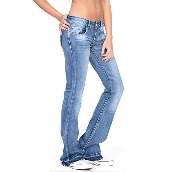 yoyoyoyoga.com Denim Light   Blue / XS Low-rise Faded Frayed Ends Bootcut Jeans