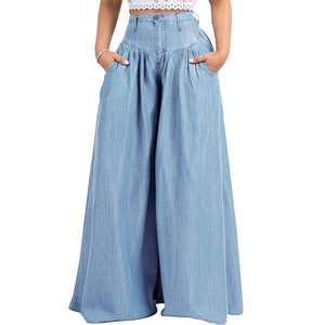 yoyoyoyoga.com Denim Light Blue / XXS 70s Super Wide-leg Soft Denim Palazzo Pants