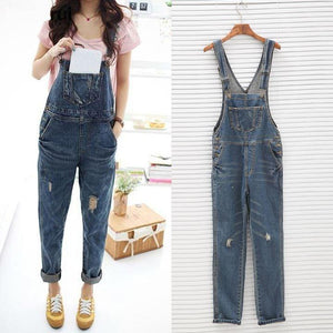 yoyoyoyoga.com Denim Multi-pocket Distressed Denim Jumpsuits Dungaree Overalls