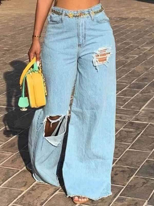 yoyoyoyoga.com Denim Wathet / S Fringed Hole Organic Denim Broad-Legged Baggy Jeans