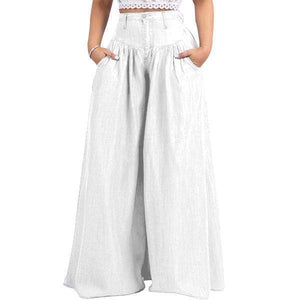 yoyoyoyoga.com Denim White / XXS 70s Super Wide-leg Soft Denim Palazzo Pants