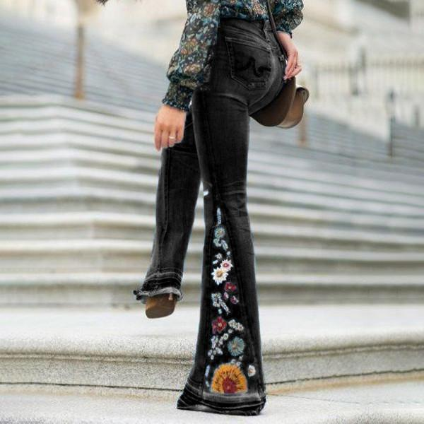 yoyoyoyoga.com Denim XS / Black Embroidered Stretchy Denim Frayed Bell Bottom Jeans