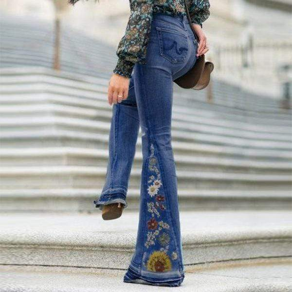 yoyoyoyoga.com Denim XS / Dark Blue Embroidered Stretchy Denim Frayed Bell Bottom Jeans