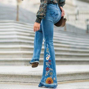 yoyoyoyoga.com Denim XS / Light Blue Embroidered Stretchy Denim Frayed Bell Bottom Jeans