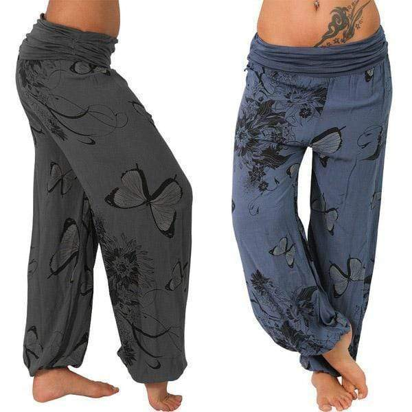 yoyoyoyoga.com Harem Pants ¡¾Best Value¡¿Grey+Navy($19.99 Per Pcs) / S Butterfly Casual Loose Comfy Mid Waist Trousers