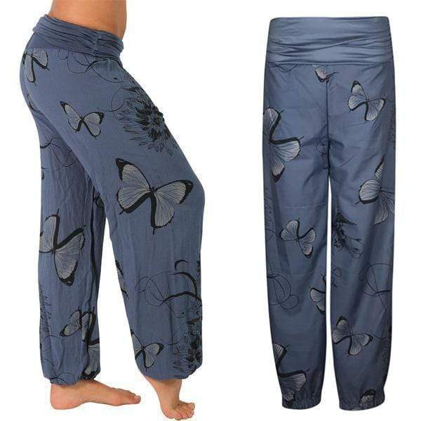 yoyoyoyoga.com Harem Pants ¡¾Best Value¡¿Navy Two-piece($19.99 Per Pcs) / S Butterfly Casual Loose Comfy Mid Waist Trousers