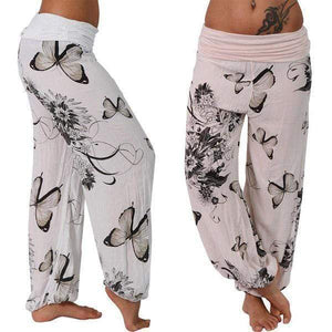 yoyoyoyoga.com Harem Pants ¡¾Best Value¡¿White+Pink($19.99 Per Pcs) / S Butterfly Casual Loose Comfy Mid Waist Trousers