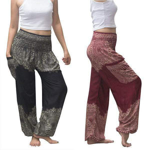 yoyoyoyoga.com Harem Pants Black+Burgundy£¨$24.99 per pcs£© / One Size Boho Thai Mandala Feathers Harem Yoga Pants
