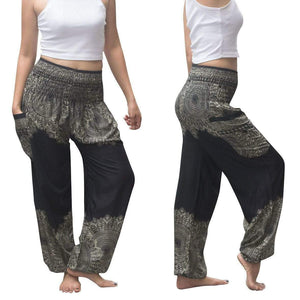 yoyoyoyoga.com Harem Pants Black / One Size Boho Thai Mandala Feathers Harem Yoga Pants