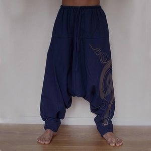 yoyoyoyoga.com Harem Pants Blue / M Printed Solid Color Loose Bloomers