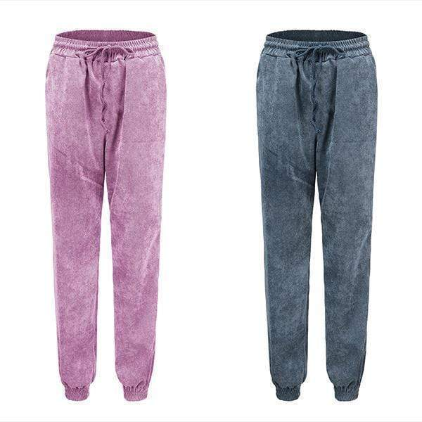 yoyoyoyoga.com Harem Pants Blue+Pink($21.99 per pcs) / S High-waist Corduroy Drawstring Casual Loose Trousers