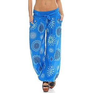 yoyoyoyoga.com Harem Pants Blue / S Button Floral Printed Lace-up Wide Leg Pants