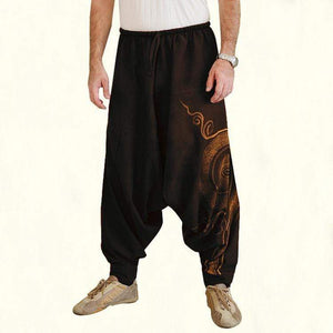 yoyoyoyoga.com Harem Pants Brown / M Printed Solid Color Loose Bloomers