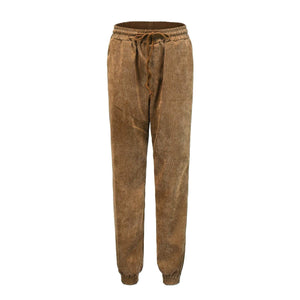 yoyoyoyoga.com Harem Pants Brown / S High-waist Corduroy Drawstring Casual Loose Trousers