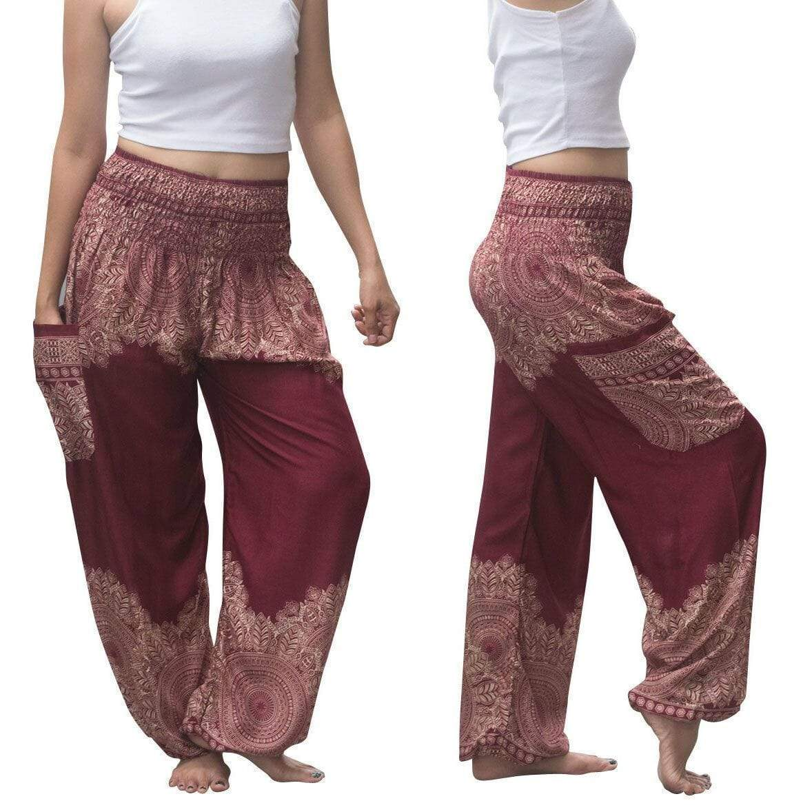 yoyoyoyoga.com Harem Pants Burgundy / One Size Boho Thai Mandala Feathers Harem Yoga Pants