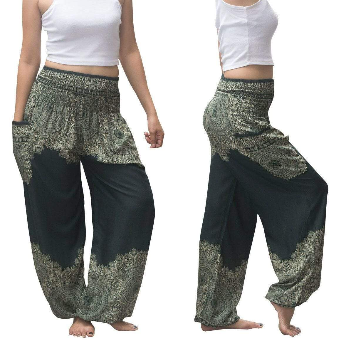 yoyoyoyoga.com Harem Pants Dark Green / One Size Boho Thai Mandala Feathers Harem Yoga Pants