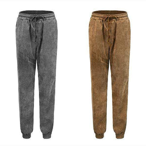 yoyoyoyoga.com Harem Pants Grey+Brown($21.99 per pcs) / S High-waist Corduroy Drawstring Casual Loose Trousers