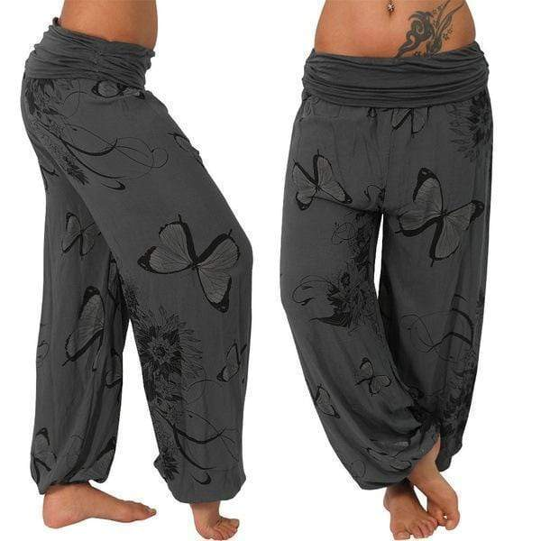 yoyoyoyoga.com Harem Pants Grey / S Butterfly Casual Loose Comfy Mid Waist Trousers