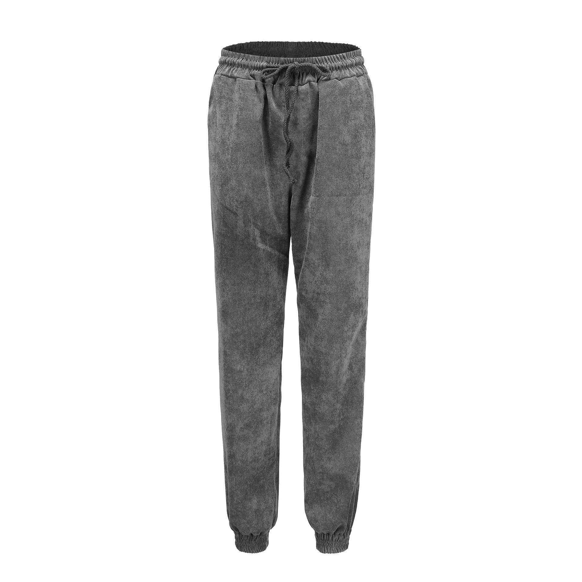 yoyoyoyoga.com Harem Pants Grey / S High-waist Corduroy Drawstring Casual Loose Trousers