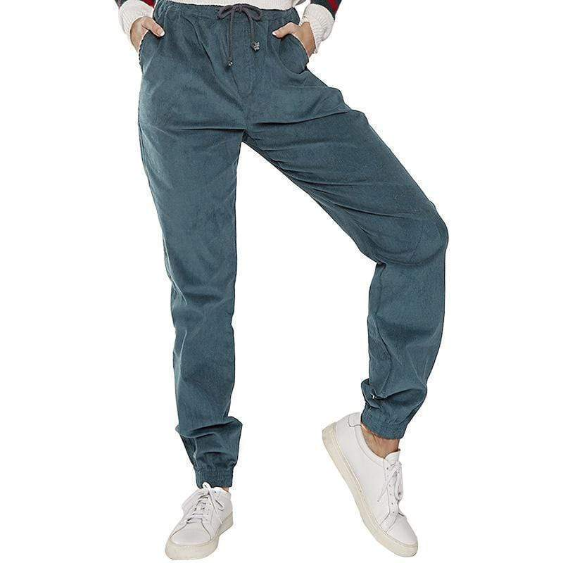 yoyoyoyoga.com Harem Pants High-waist Corduroy Drawstring Casual Loose Trousers