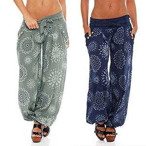 yoyoyoyoga.com Harem Pants ¡¾MOST POPULAR¡¿Green+Navy£¨$27.79 per pcs£© / S Button Floral Printed Lace-up Wide Leg Pants