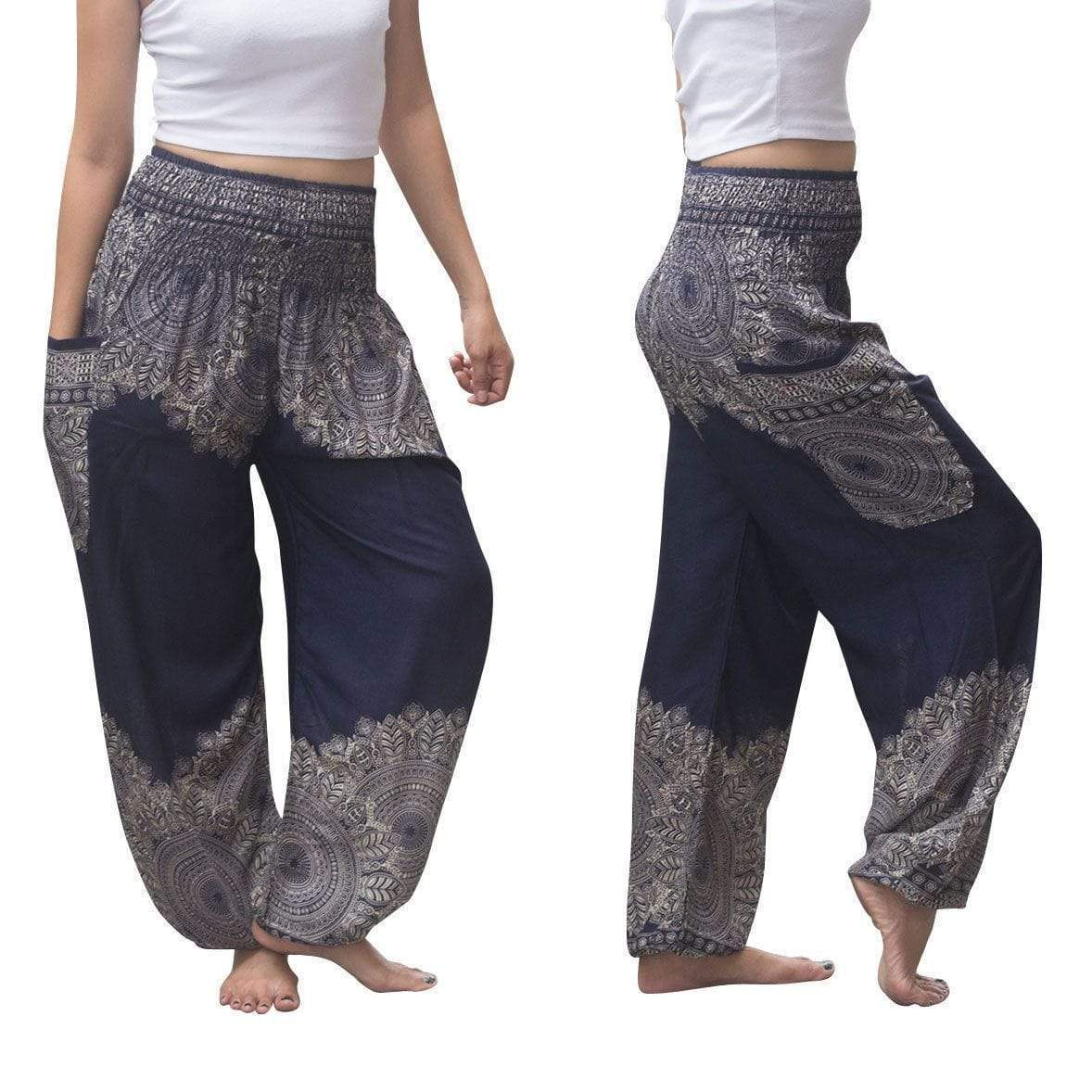 yoyoyoyoga.com Harem Pants Navy / One Size Boho Thai Mandala Feathers Harem Yoga Pants