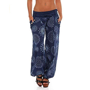 yoyoyoyoga.com Harem Pants Navy / S Button Floral Printed Lace-up Wide Leg Pants
