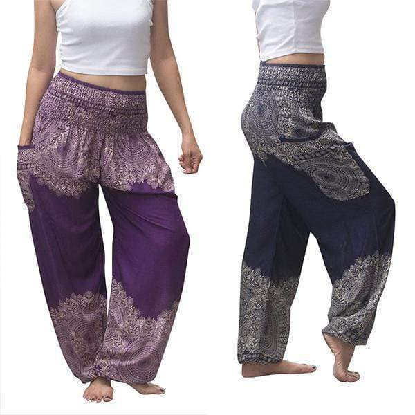 yoyoyoyoga.com Harem Pants Purple+Navy£¨$24.99 per pcs£© / One Size Boho Thai Mandala Feathers Harem Yoga Pants