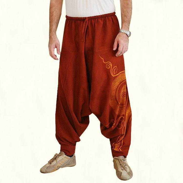 yoyoyoyoga.com Harem Pants Red / M Printed Solid Color Loose Bloomers