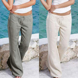 yoyoyoyoga.com Harem Pants White+Grey($19.99 per pcs) / S Casual Loose Soft Cotton Bell Bottoms