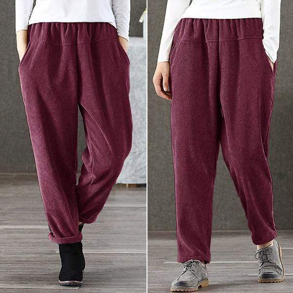 yoyoyoyoga.com Harem Pants Wine Red / S Casual Solid Color Comfy Corduroy Elastic Waist Trousers