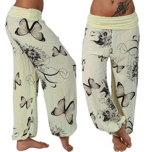 yoyoyoyoga.com Harem Pants Yellow / S Butterfly Casual Loose Comfy Mid Waist Trousers