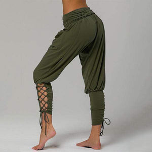 yoyoyoyoga.com Joggers&Sweatpants Army Green / XS Eco-friendly Bamboo Lace-up Stretchy Yoga Pants