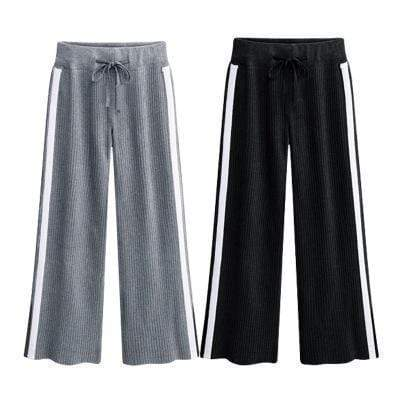 yoyoyoyoga.com Joggers&Sweatpants Black+Gray(Buy one get one 50% off) / M Loose Drawstring Striped Wide-leg Sweatpants