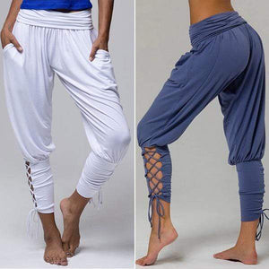 yoyoyoyoga.com Joggers&Sweatpants Blue+White($21.99 per pcs) / XS Eco-friendly Bamboo Lace-up Stretchy Yoga Pants