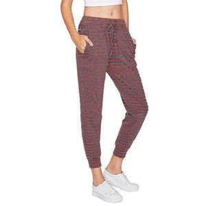 yoyoyoyoga.com Joggers&Sweatpants Red&Gray / S Striped Drawstring Casual High Waist Jogging Pants