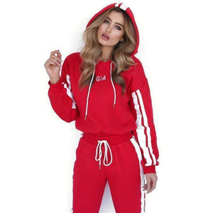 yoyoyoyoga.com Joggers&Sweatpants Red / S Colorblock Striped Hooded Casual Sport Suit