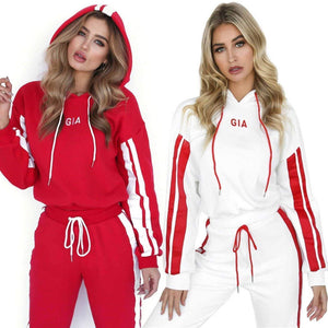 yoyoyoyoga.com Joggers&Sweatpants ¡¾SPECIAL OFFER¡¿White+Red£¨$29.79 per pcs£© / S Colorblock Striped Hooded Casual Sport Suit
