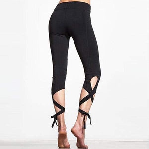 yoyoyoyoga.com Leggings S / Black Wrap-around Yoga Dance Ballet Laced-up Leggings
